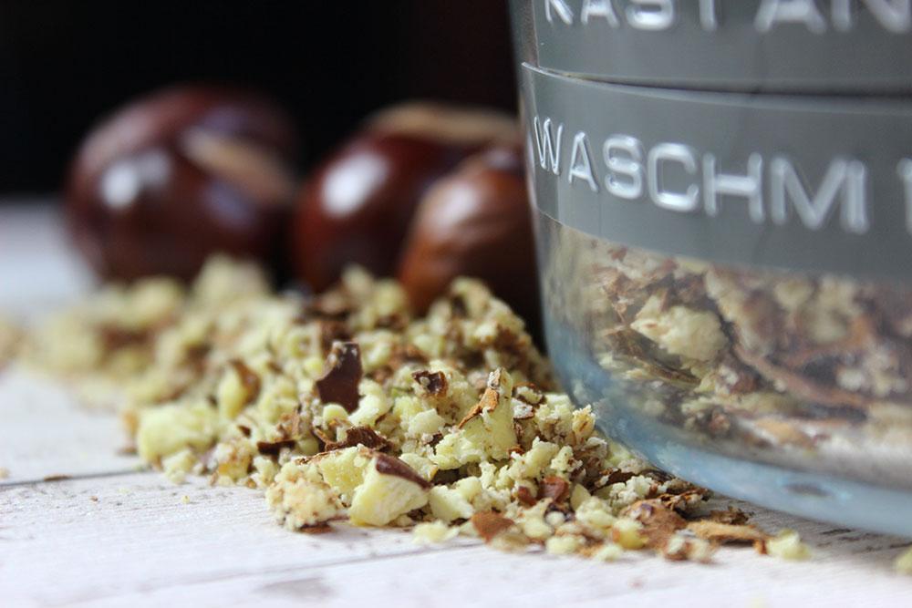 Zerkleinerte Kastanien für Kastanienwaschmittel